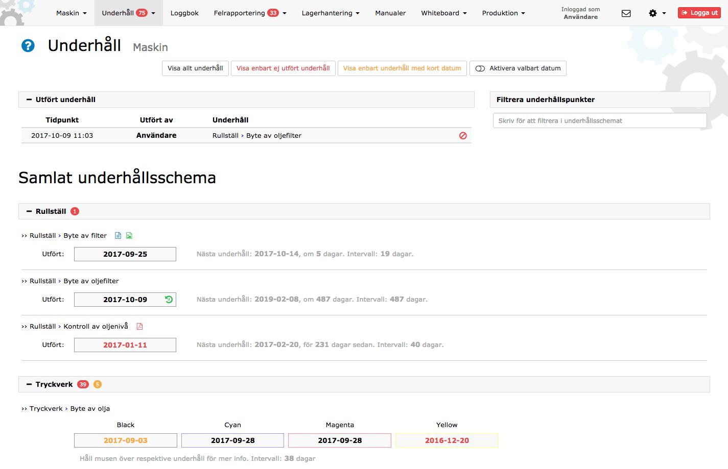 Underhållssystemet i Produktionsportal.se